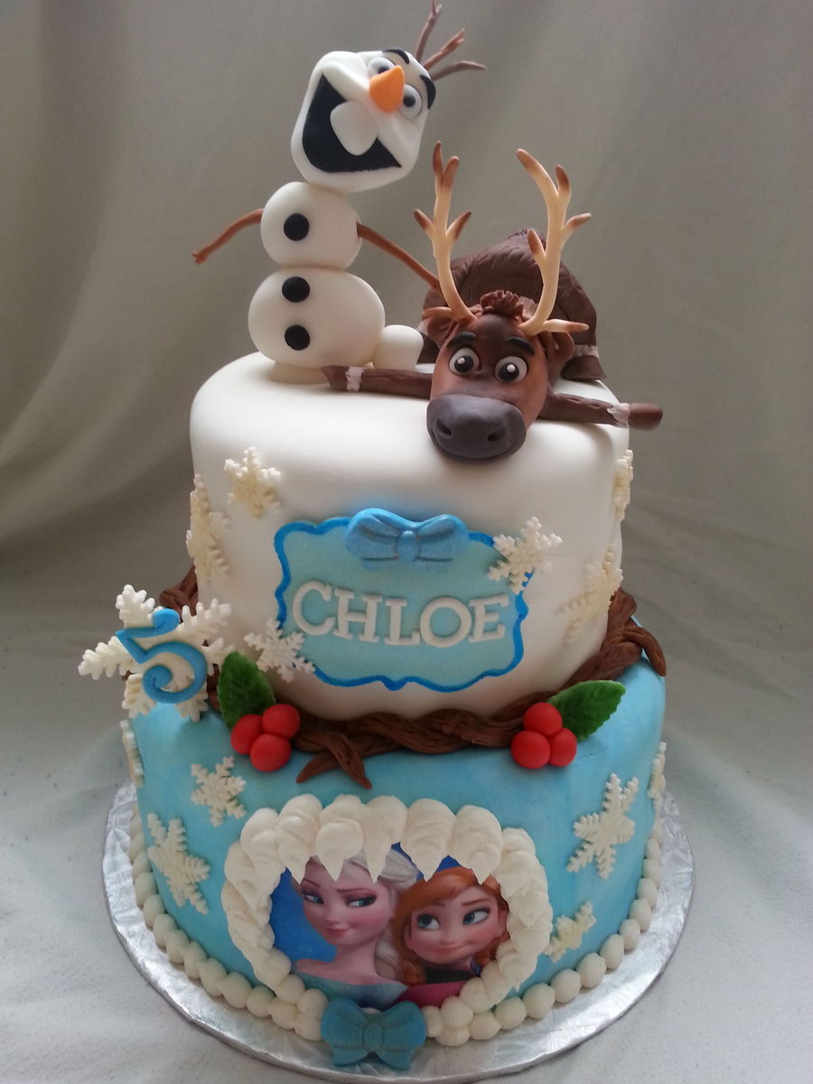 Frozen Themed Birthday Cake With Handmade Details And Figures