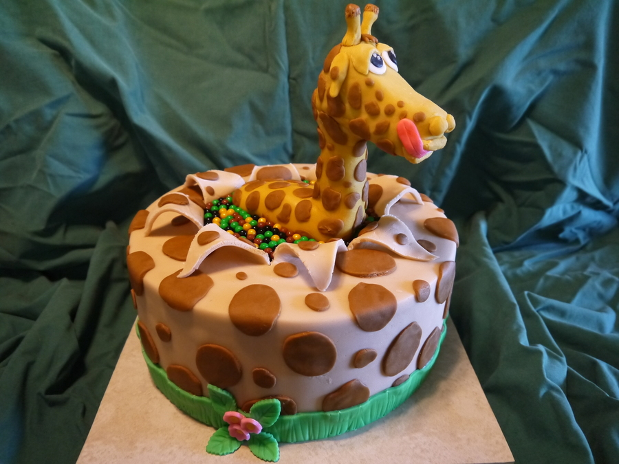 Giraffe Surprise Birthday Cake Cakecentral Com