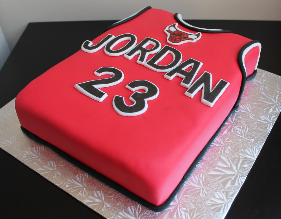 A Chicago Bulls Jersey Cake Chocolate Cake With Chocolate Ganache