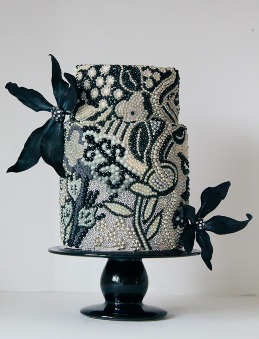 Black And White Beaded Cake on Cake Central