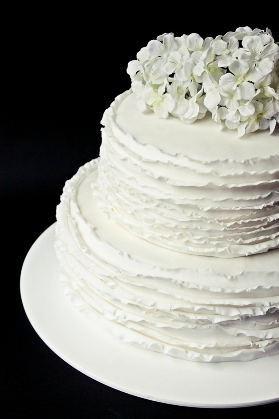 Fondant White Two Tier Cake With Flowers