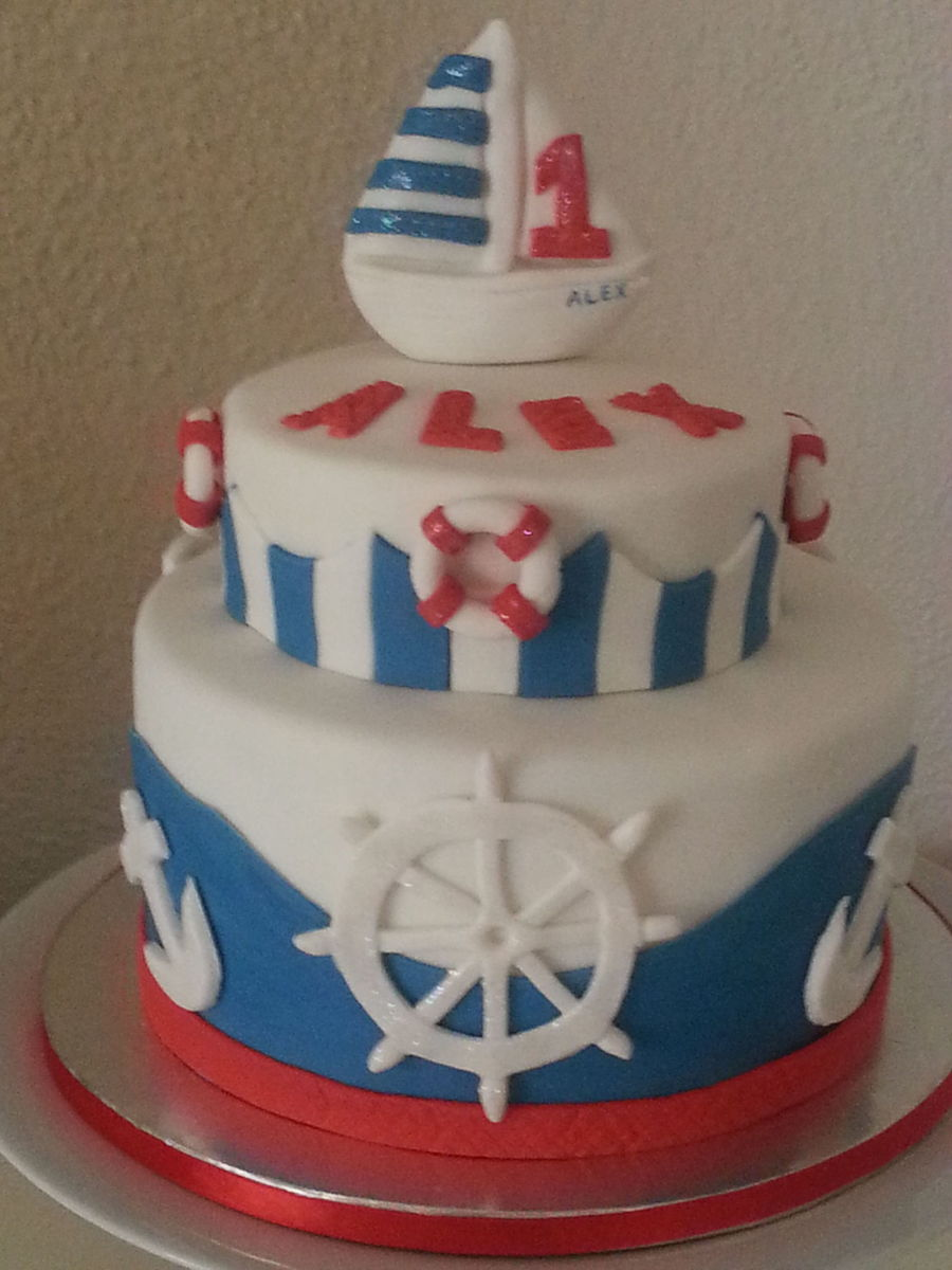 1st Birthday Cake For A Little Sailor Decorated With Ships Wheel