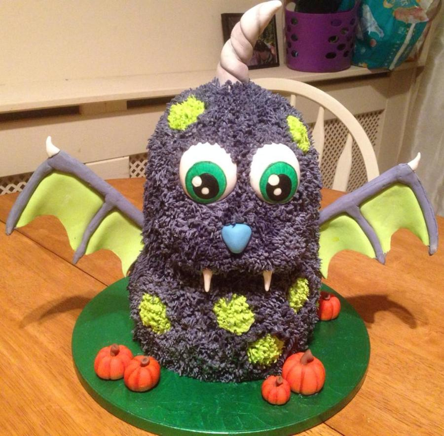 Sculpted Cute Monster Cake And Mini Flower Paste Pumpkins For
