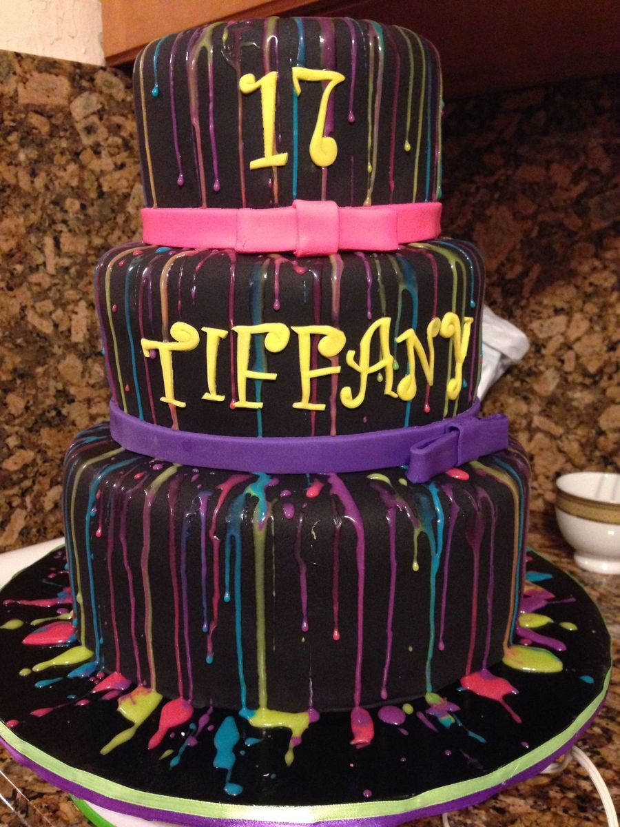 Black With Neon Color Drips Birthday Cake CakeCentralcom