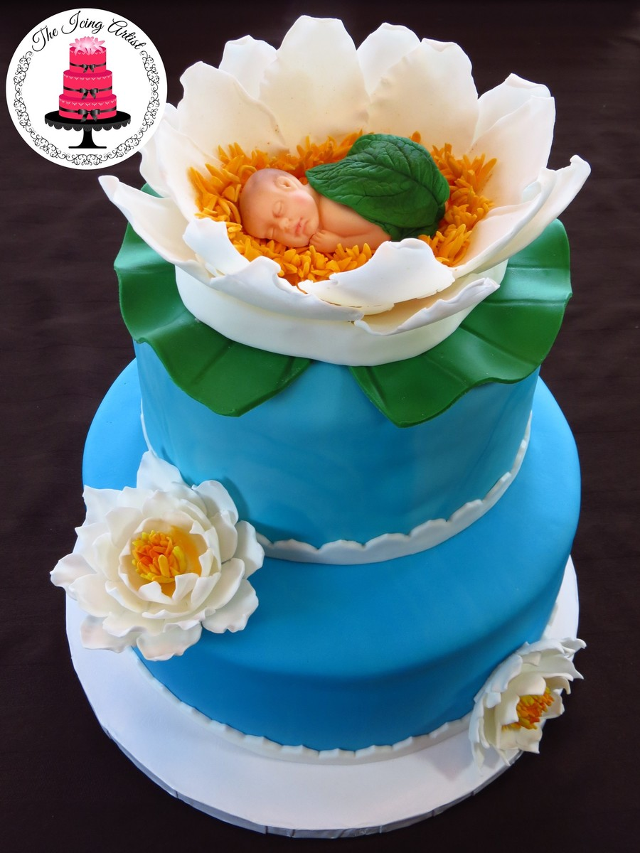 Water Lily Baby Shower Cake - CakeCentral.com