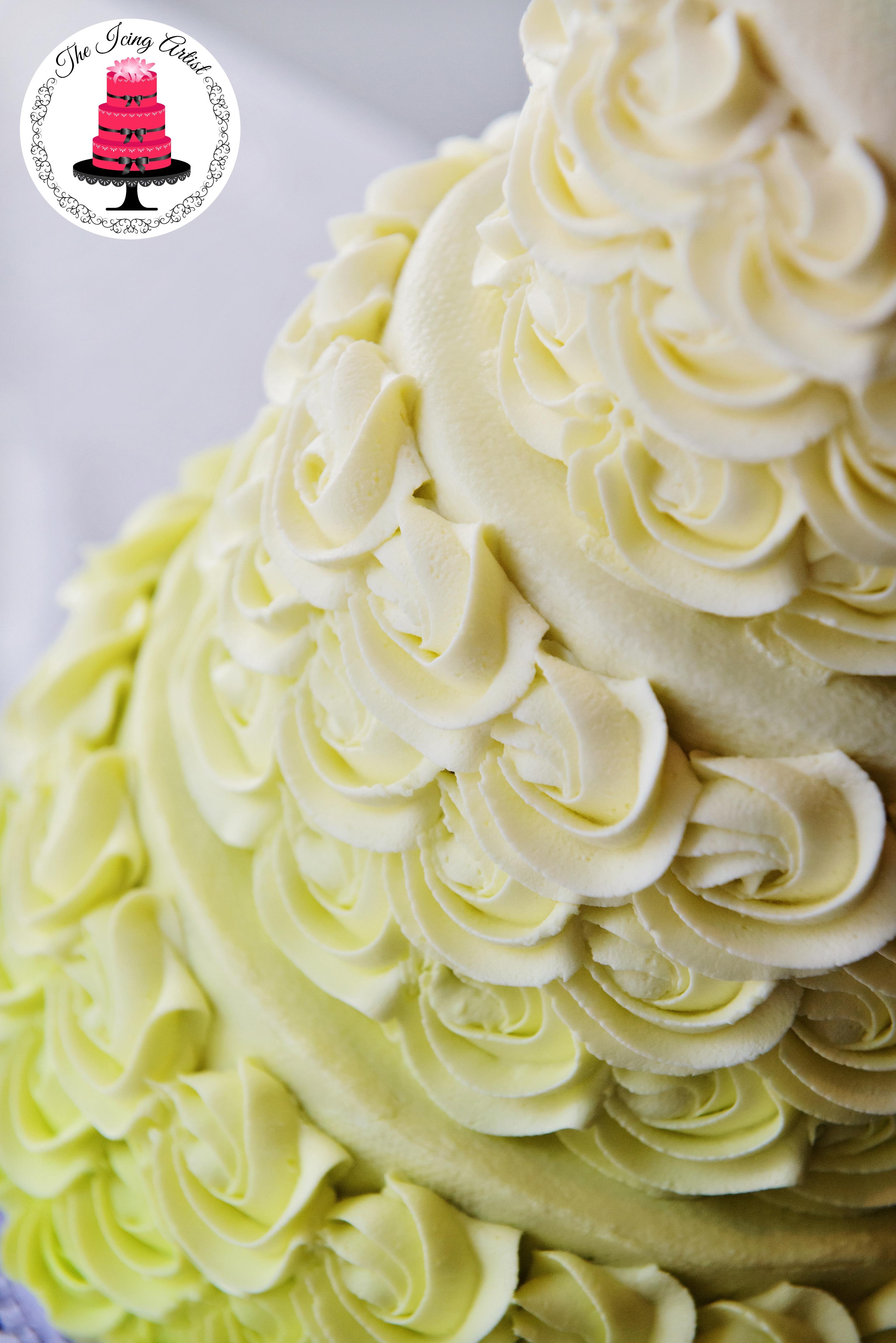 Three Tier Rosette Wedding Cake Cakecentral Com
