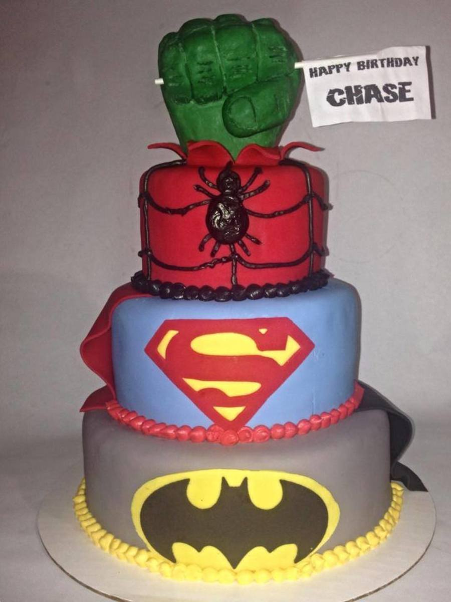 Superhero Cake Batman Superman Spiderman Hulk Fist