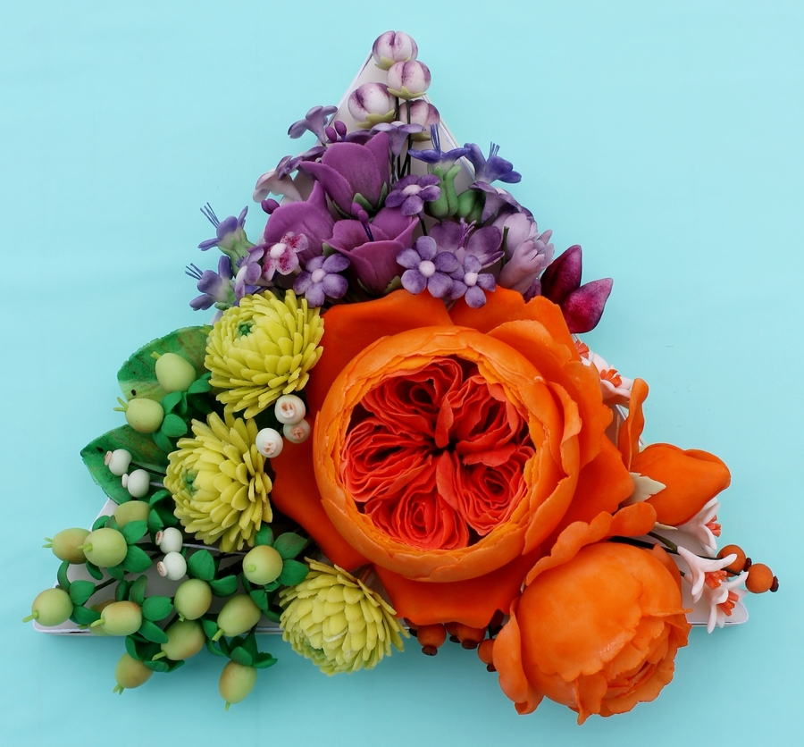 Triadic Colors Of Green Purple And Orange Sugar Flowers On Cake Central