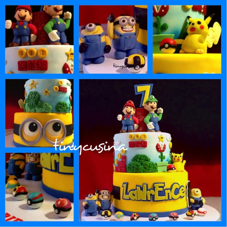 Cake For A 7 Year Old Boy Who Loves Mario Bros Pokemon And The Minions On