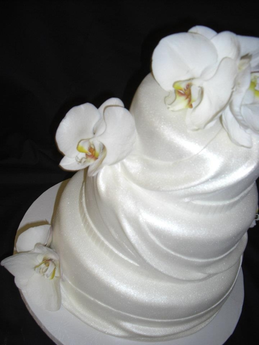 White Orchid Wedding Cake on Cake Central