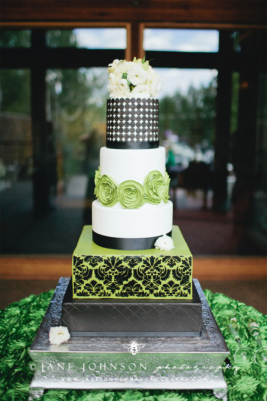 Swanky Green Black And White Modern And Damask Wedding Cake With