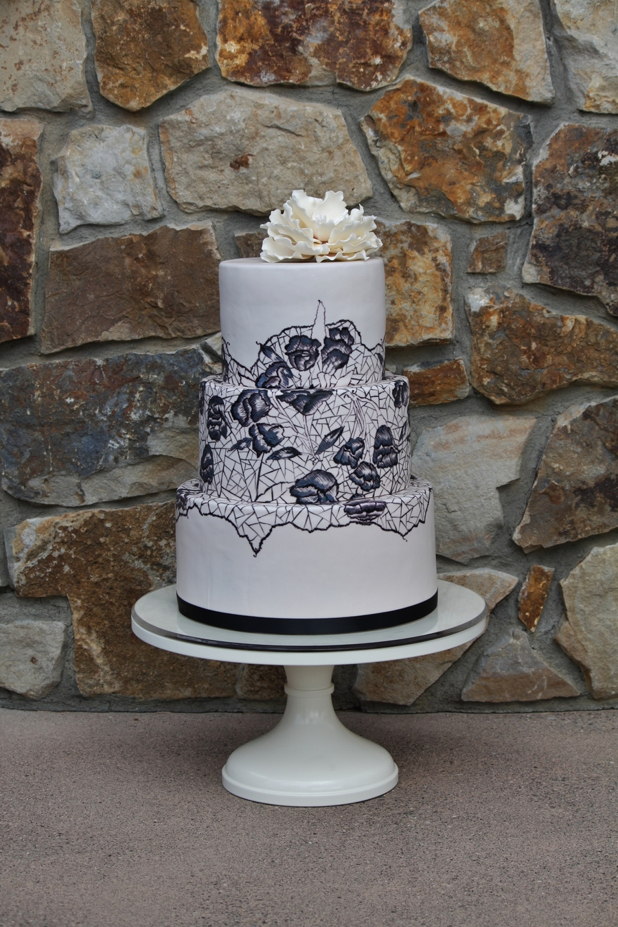 Hand Painted Lace Wedding Cake With Sugar Peony on Cake Central