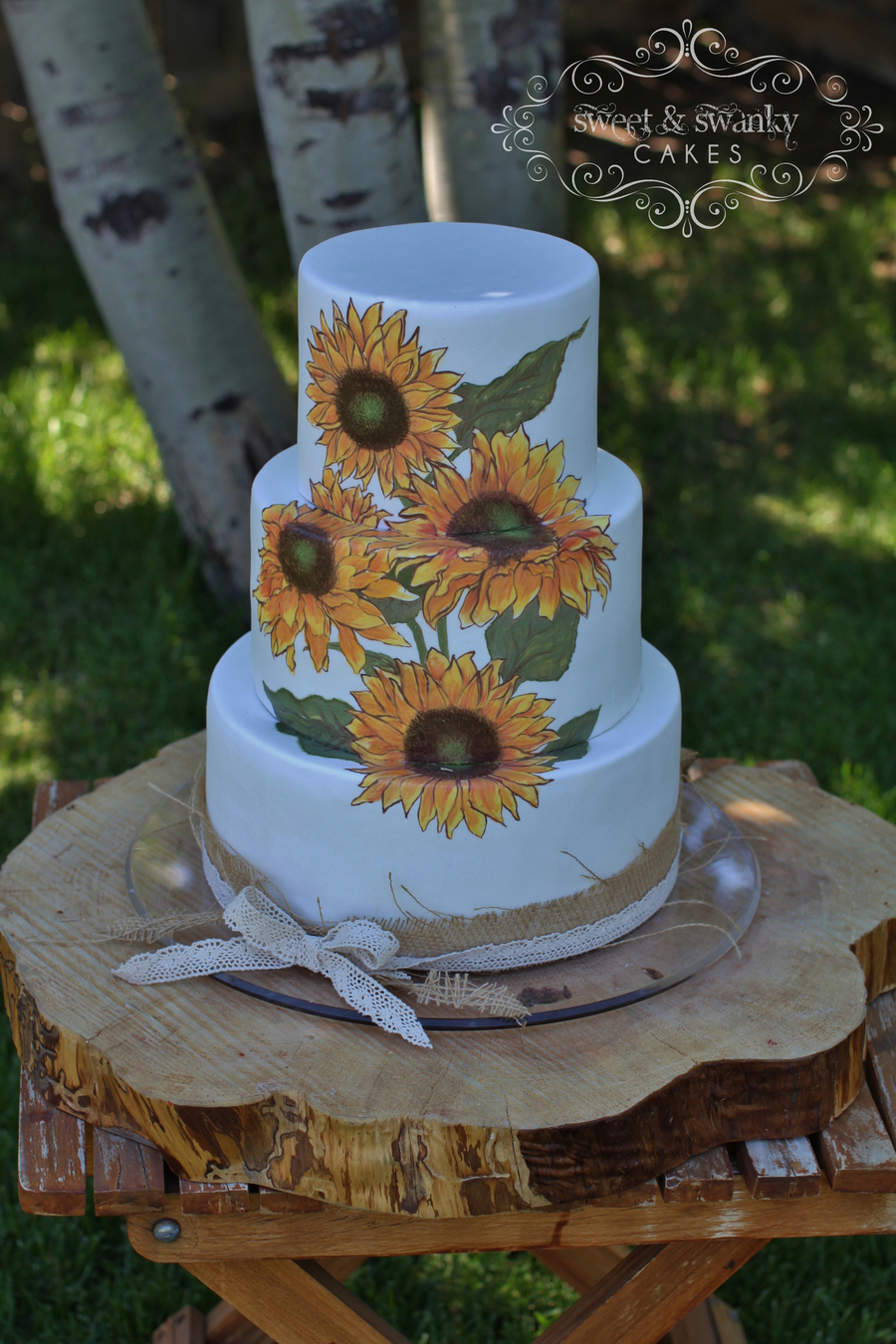 rustic wedding cakes with sunflowers painted rustic sunflower wedding cake cakecentral 19574