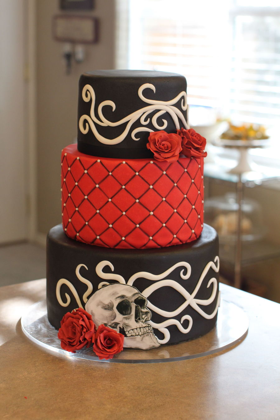 Gothic Rockabilly Wedding Cake With Sugar Roses Filigree And A Hand Painted Skull By Sweet And