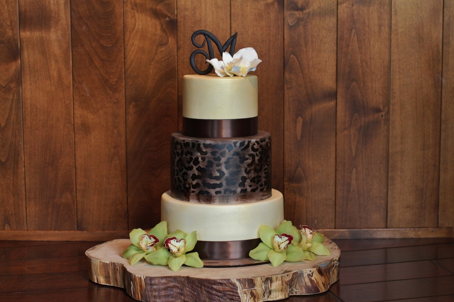 Classy Woodsy And Elegant Leopard Print Wedding Cake With A Sugar Orchid And Monogram On Top By Sweet And Swanky Cakes on Cake Central