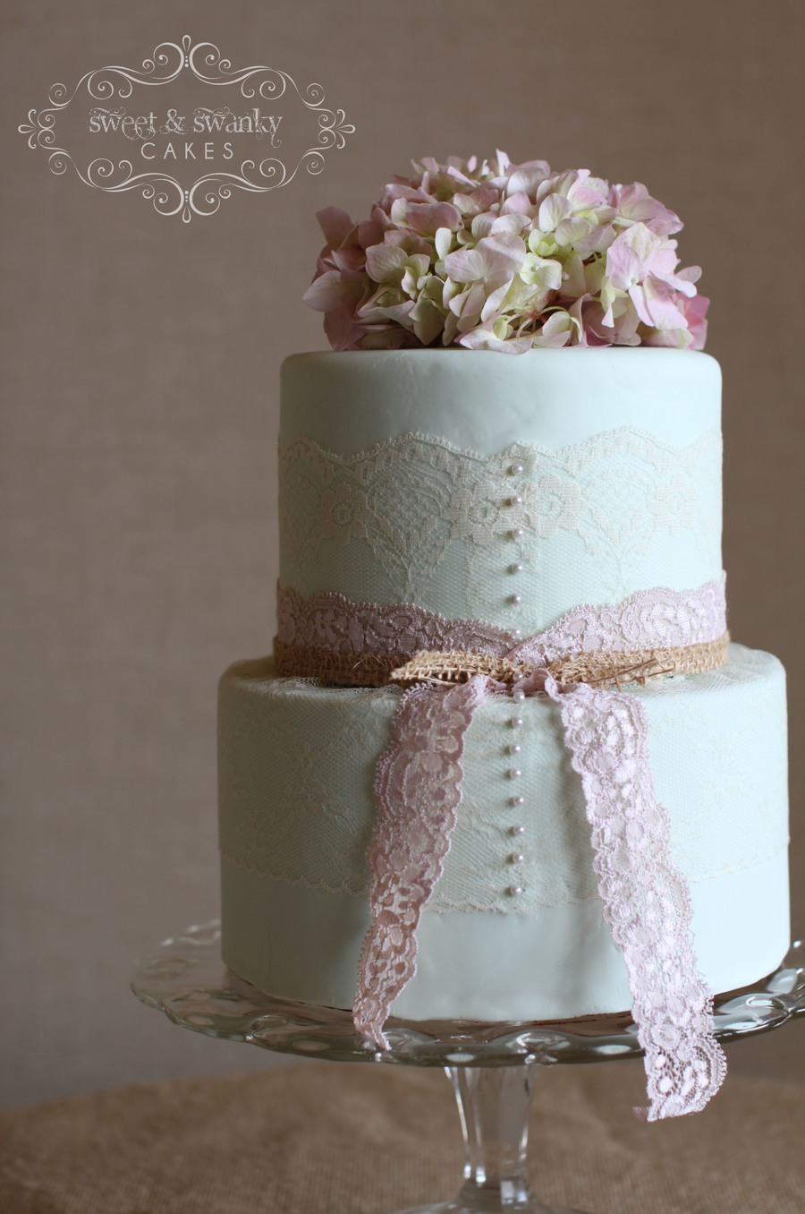 Vintage Mint Green Wedding Cake With Real Lace And Hydrangas By Sweet And Swanky Cakes on Cake Central