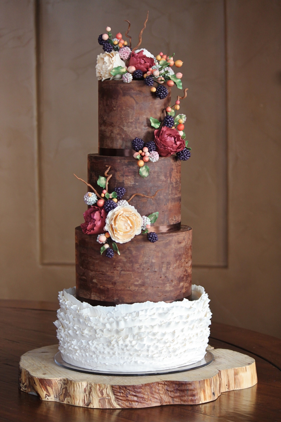 chocolate ganache wedding cakes pictures rustic and organic wedding cake with chocolate ganache 12717