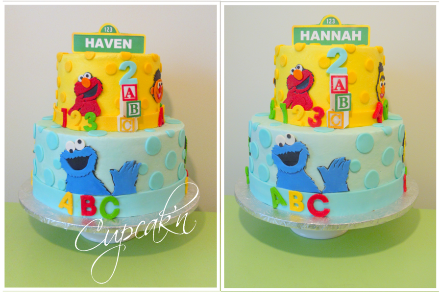 Sesame Street Birthday Cake.A Sesame Street Themed Birthday Cake With Fondant Cut Outs