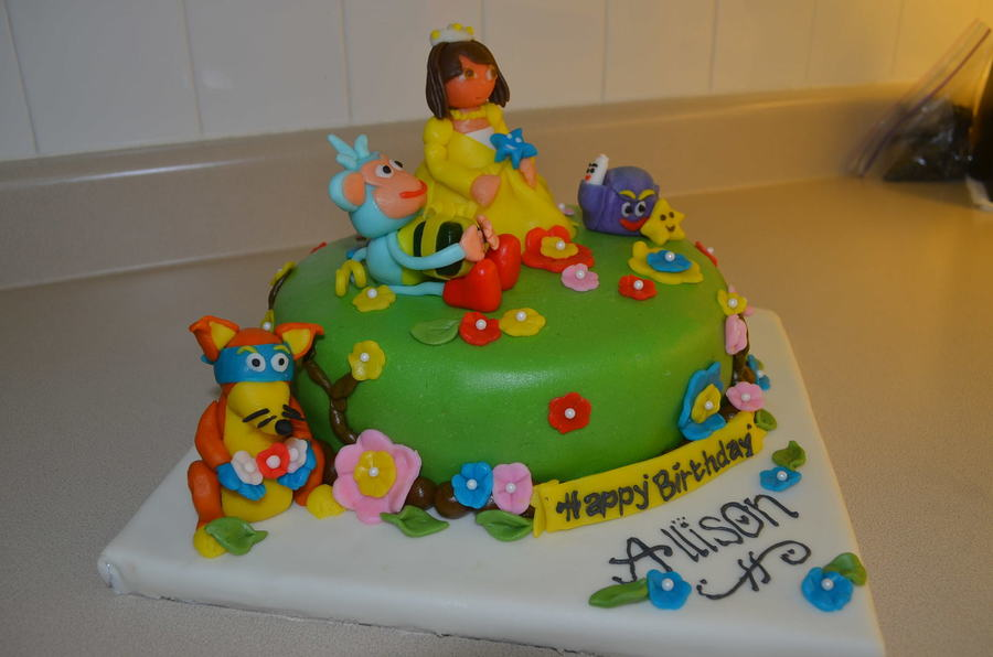 Remarkable My First Dora Cake With Boots Backpack And Swiper Cakecentral Com Birthday Cards Printable Benkemecafe Filternl