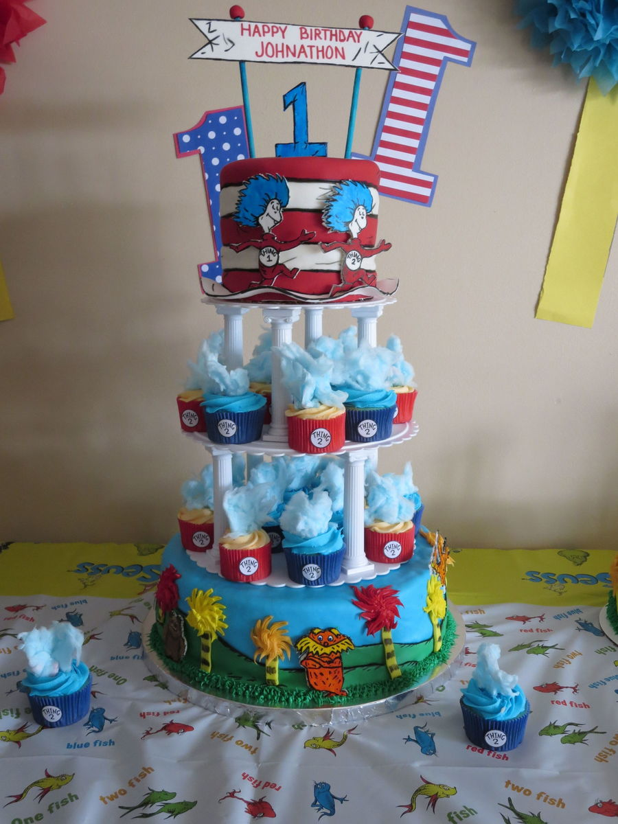 Dr Seuss First Birthday Cake And Cupcakes The Bottom Tier Is A Cake