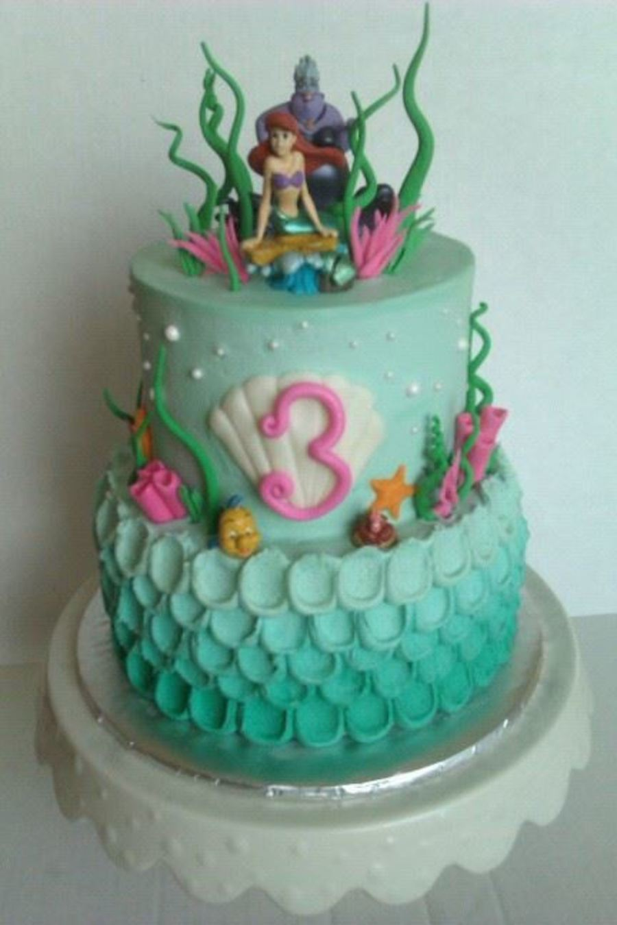 Lil Mermaid Themed Cake CakeCentralcom