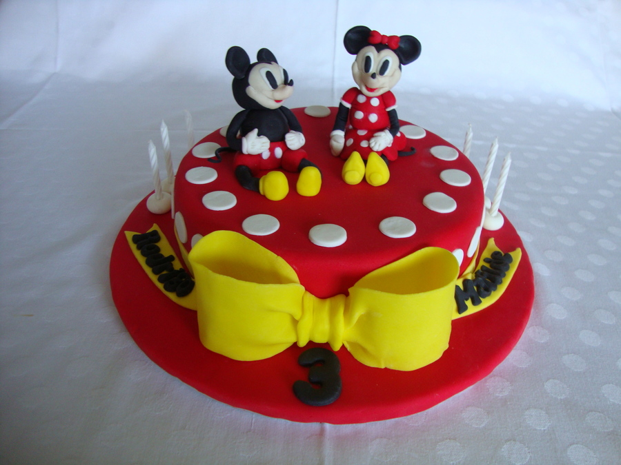 Mickey Amp Minnie Birthday Cake Twins My First Fondant Cake Design