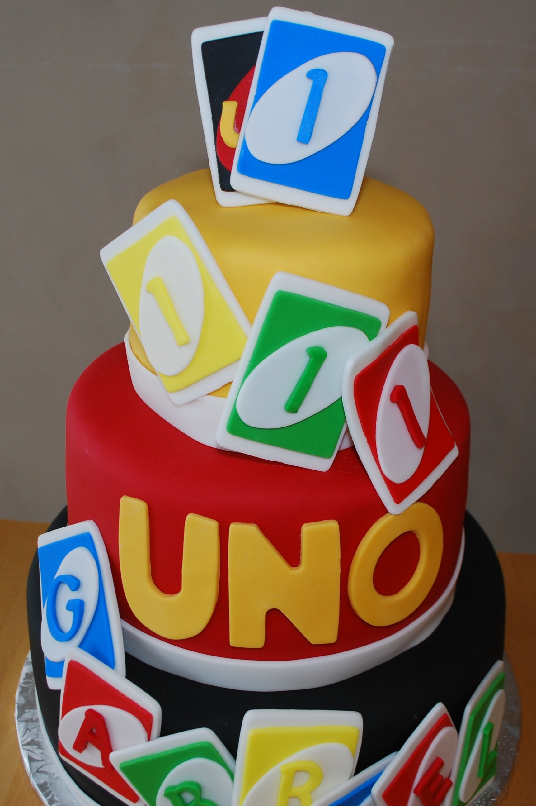 Uno Themed Cake For First Birthday Cakecentral Com