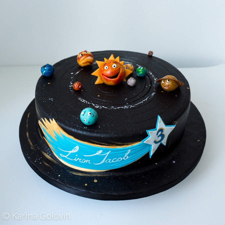 Admirable Solar System For 3 Years Old Boy Cakecentral Com Personalised Birthday Cards Veneteletsinfo