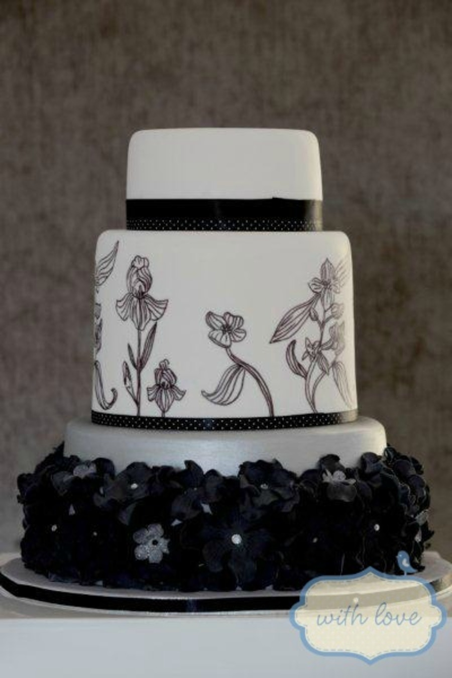 Black and white wedding cake with handpainted floral detail and black and white wedding cake with handpainted floral detail and handmade black sugar flowers with silve mightylinksfo
