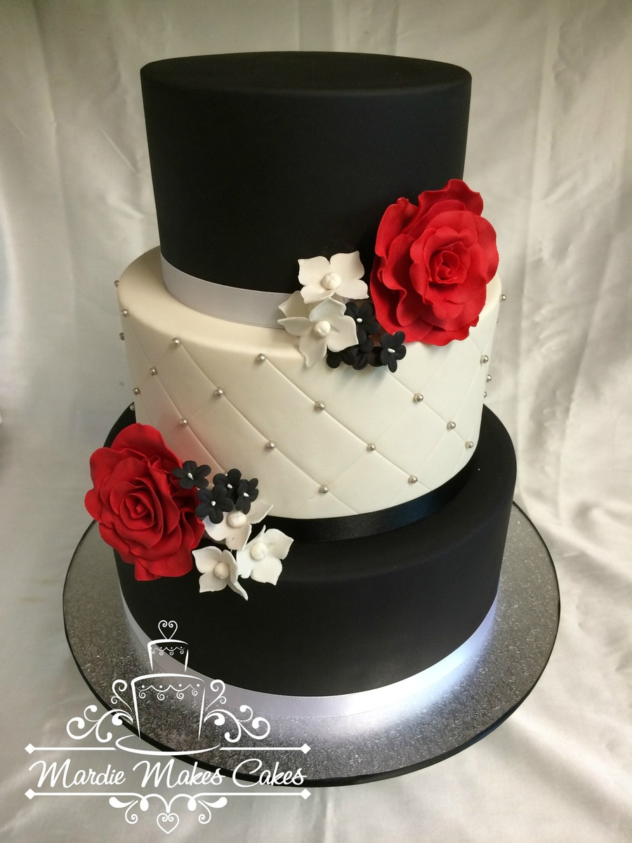 2 Tiers Vanilla Cake With Swiss Meringue Butter Cream Filling And Marshmallow Fondant 1 Tier Bottom Styrofoam Roses And Flowers Handma on Cake Central