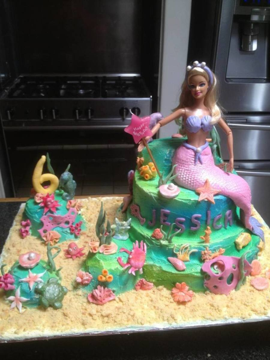 Groovy Ocean Scene With Barbie 6 Year Old Birthday Cakecentral Com Funny Birthday Cards Online Unhofree Goldxyz
