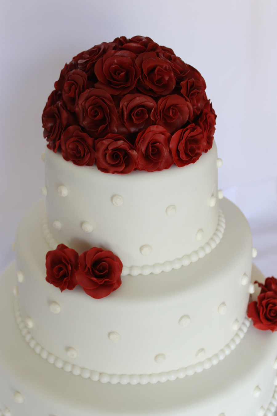 My First Wedding Cake Red Roses With Ball Border And Some