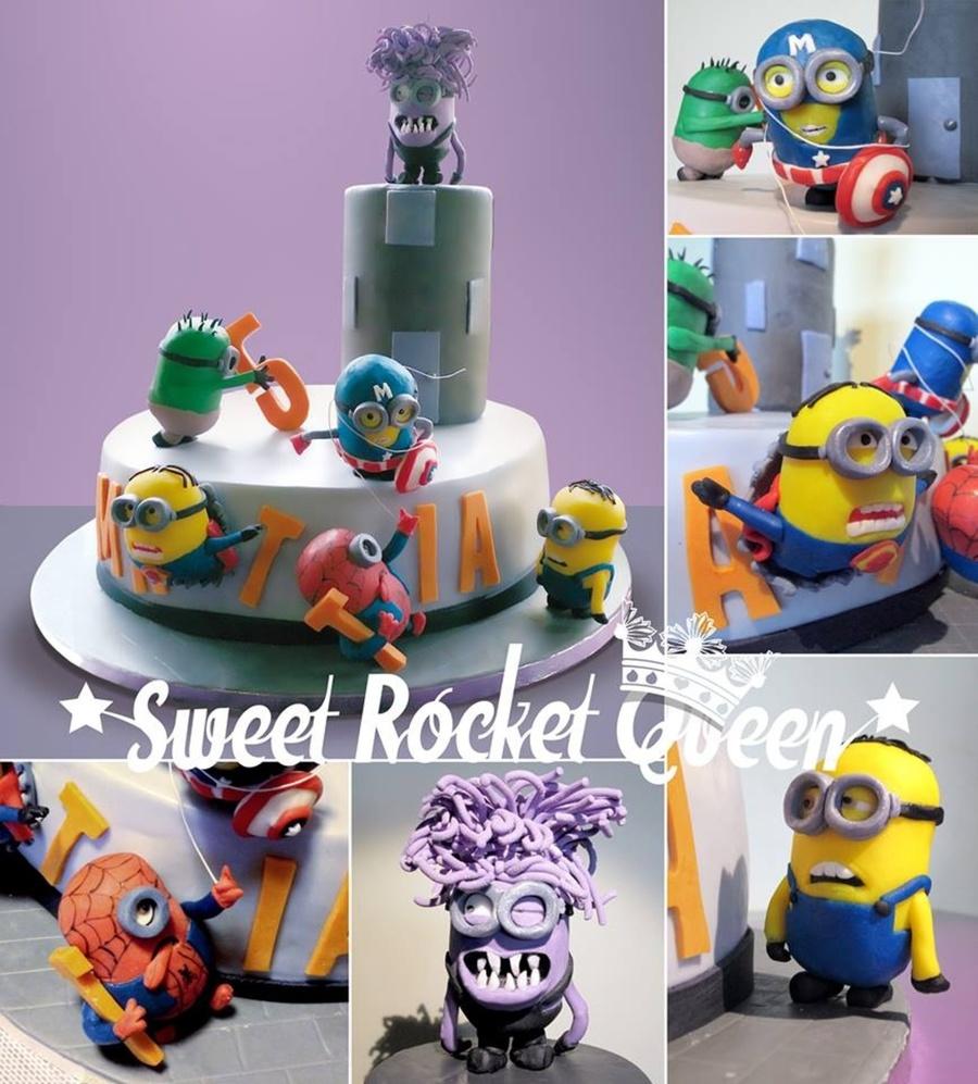 Superheroes Minions Cake - CakeCentral.com