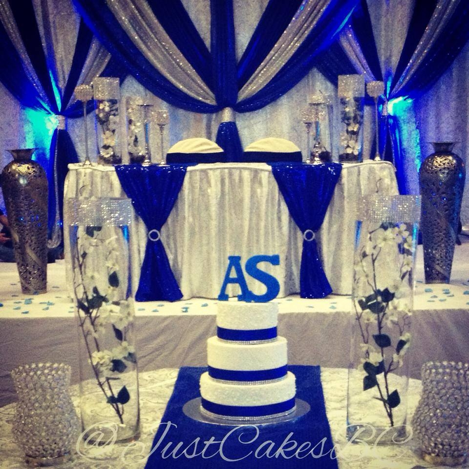 Royal Blue And Silver Wedding Cake Just Cakes Custom Cake Creations