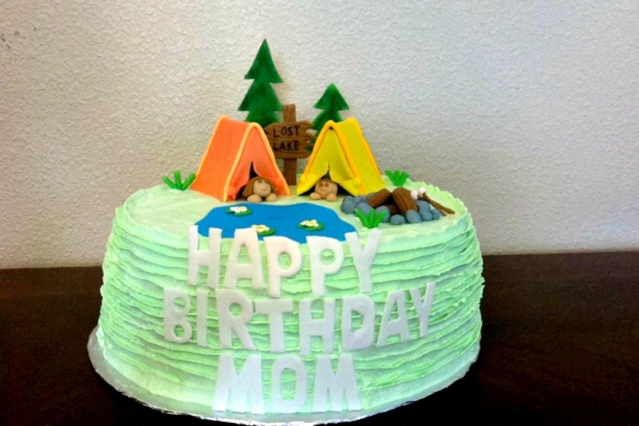 Lost Lake Camping Themed Birthday Cake Loved Working On This One So Much Detail All Decorations Are Fondant And Edible  on Cake Central