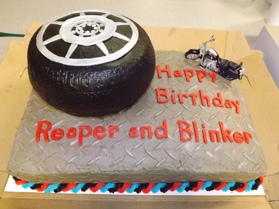 Tire Tread And Diamond Plate Texture Mats On Chocolate Vanilla Buttercream Icing Colored Black Gray