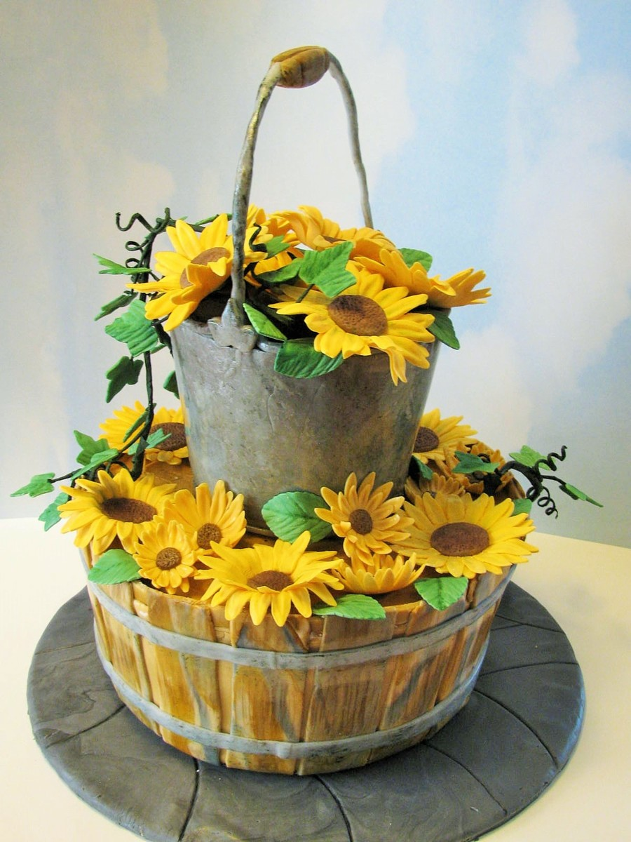Country Wedding Cake Mm Fondant For Bucket And Basket ...