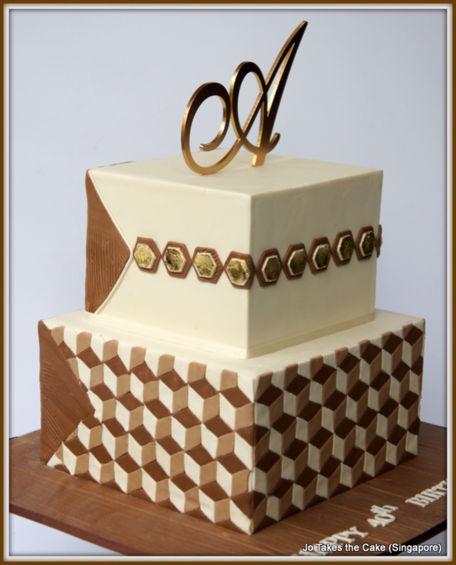 Geometric 40Th Birthday Cake For A Male Hotel Developer