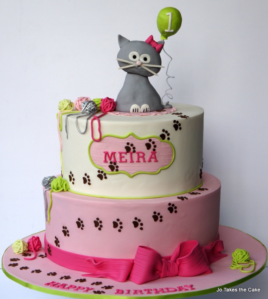 Surprising Kitty Cat 1St Birthday Cake Cakecentral Com Funny Birthday Cards Online Inifofree Goldxyz