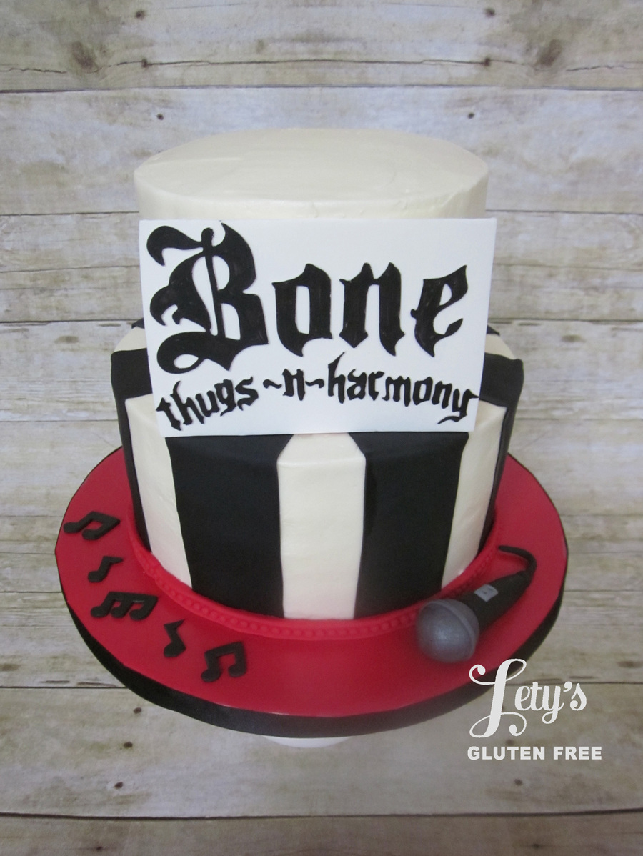 Buttercream Cake With Fondant Details For A Groom That Is A Huge Fan Of The Rap Group Bone Thugs N Harmony Lettering Made With Silhouett on Cake Central
