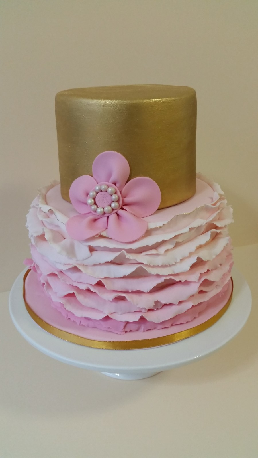 Gold And Pink Birthday Cake Smooth Gold Top Tier With Ombre Ruffles