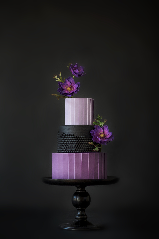 My Black And Purple Weddingcake CakeCentral
