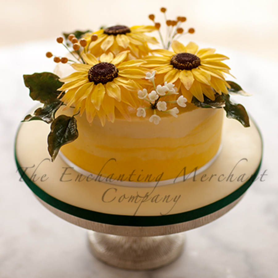 3 Layer Cake Icing: Ombre Yellow Sunflower Cake