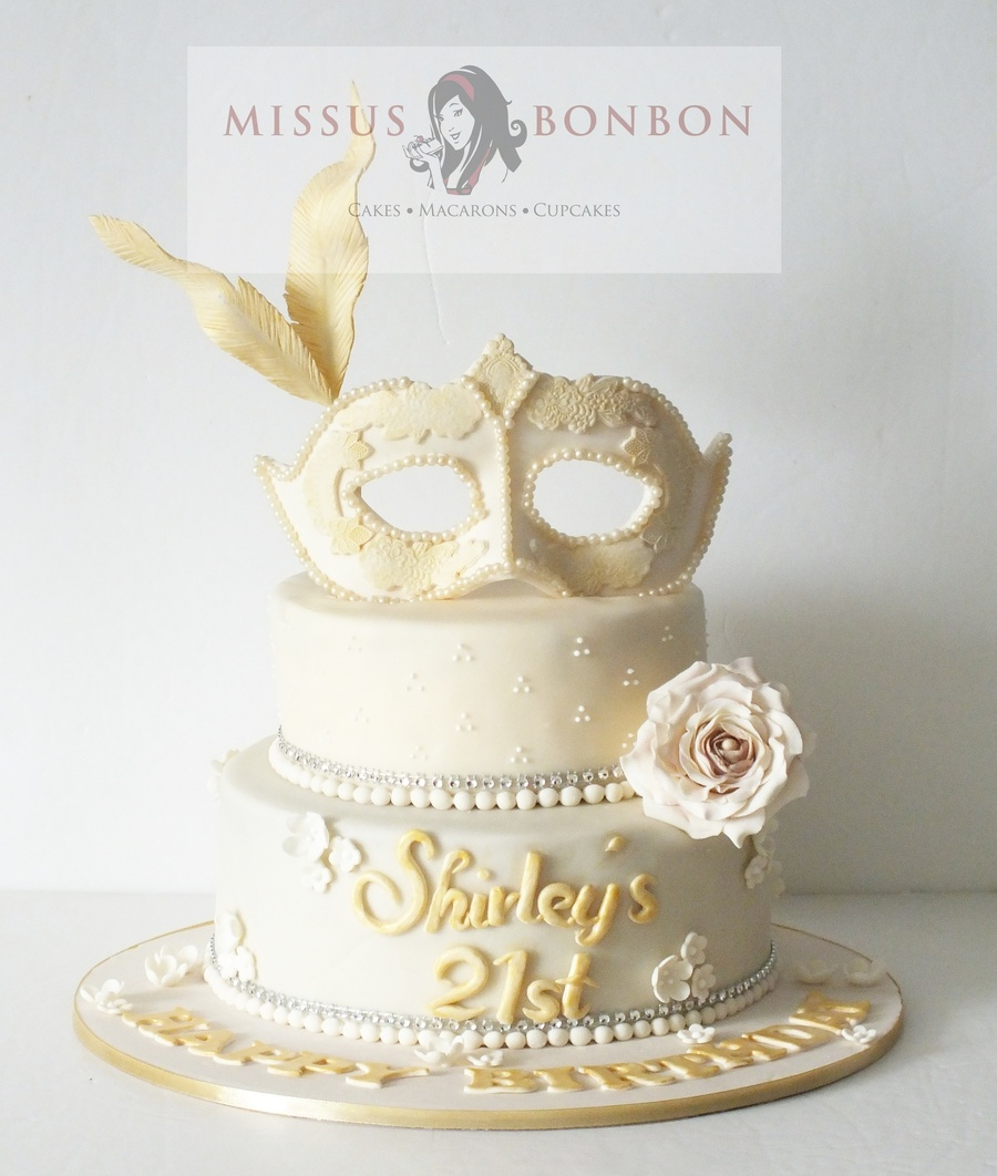 Ivory And Gold Masquerade 21st Birthday Cake Cakecentral