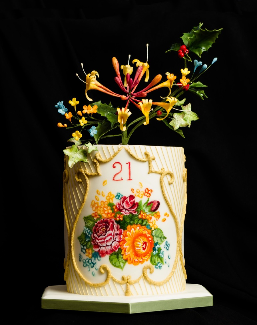 21st Birthday Cake Inspired By Russian Zhostovo Trays The