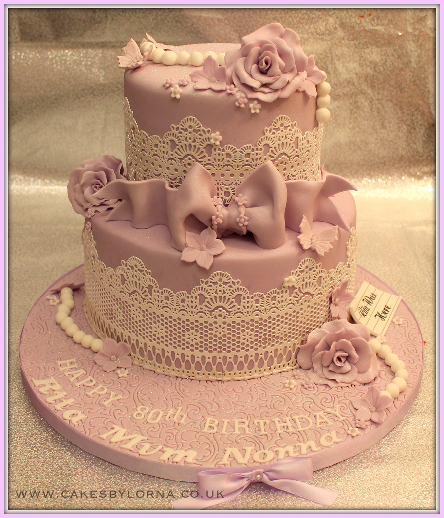 Ladies 80Th Two Tier Vintage Inspired Lace Birthday Cake Lilac