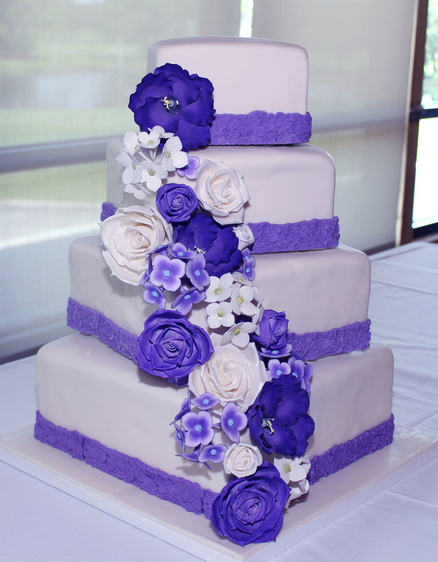 wedding cakes with purple accents square wedding cake with royal purple accents 26088