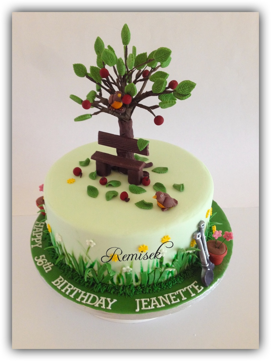 This Cake Was Made For A Dear Friends Mum For Her 56Th Birthdaythe Flower Pot Garden Tools And Robin Bird Are All Made Out Of Sugar Past on Cake Central
