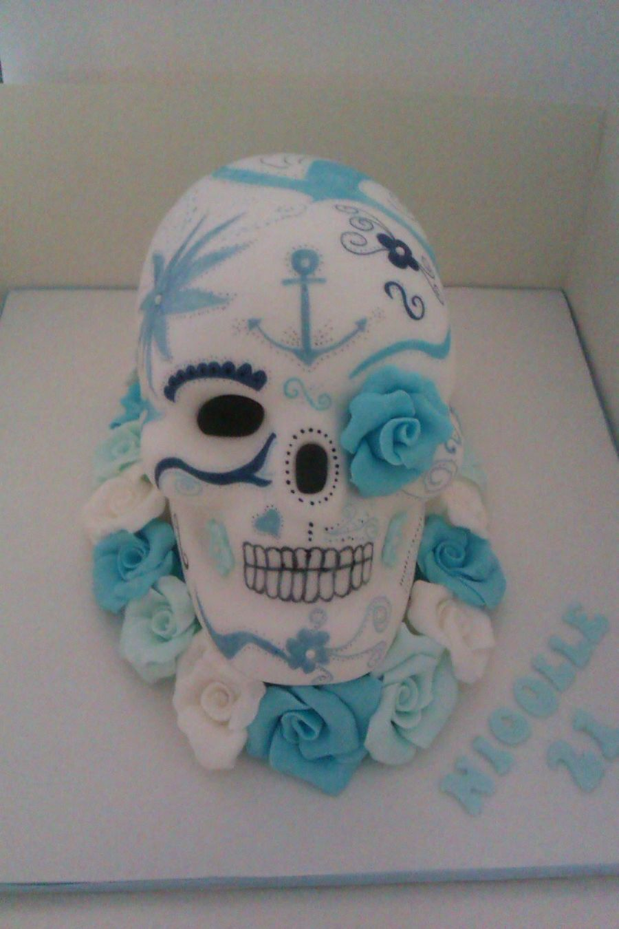 Terrific Mexican Style Skull 21St Birthday Cake Cakecentral Com Funny Birthday Cards Online Eattedamsfinfo