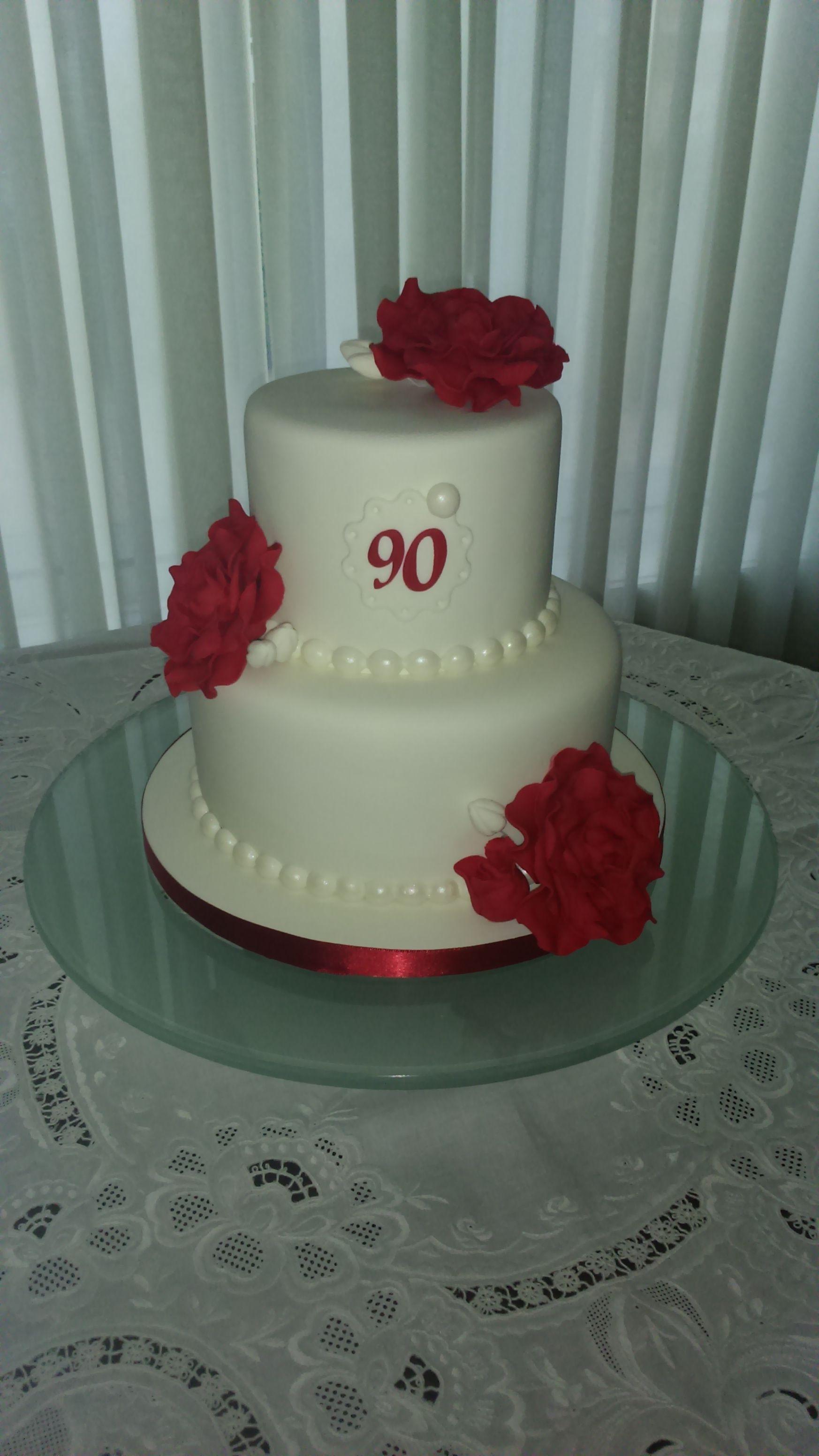 White Cake With Burgundy Roses My Grandmas Birthday Cake Marble Cake